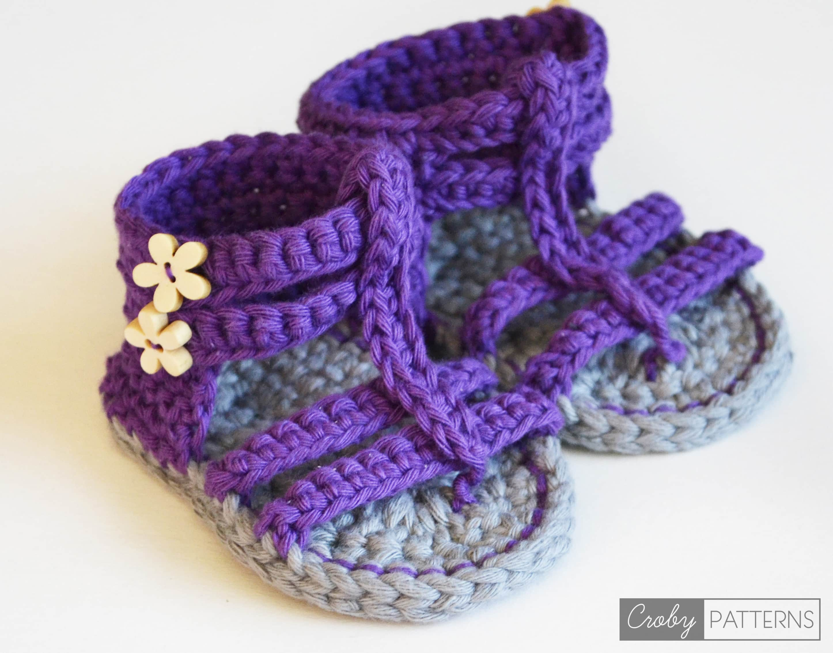 PURPLE GLADIATOR ? Crochet Baby Sandals ? Croby Patterns