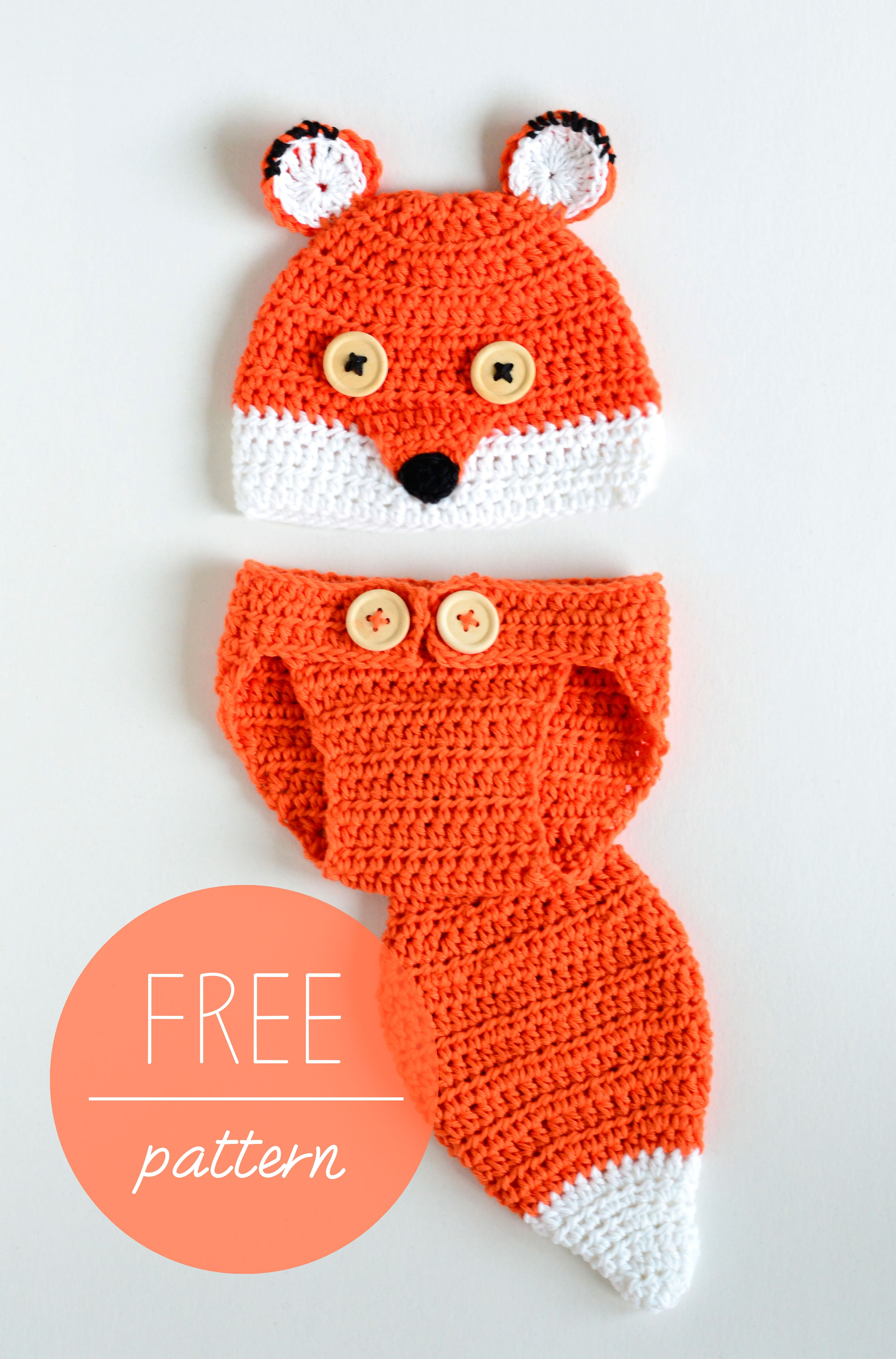Croby Patterns Crochet Baby Hat and Diaper Cover ? Cute Fox