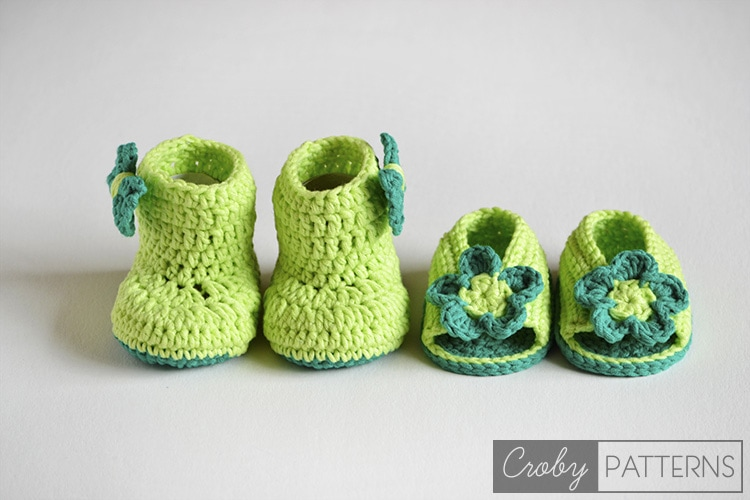 Green Delight And Rainy Summer Crochet Baby Sandals And Booties