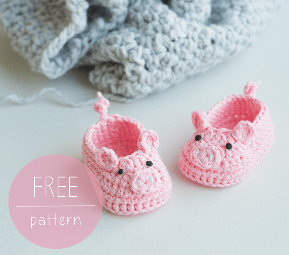 Free Crochet Pattern Piggy Baby Booties Croby Patterns