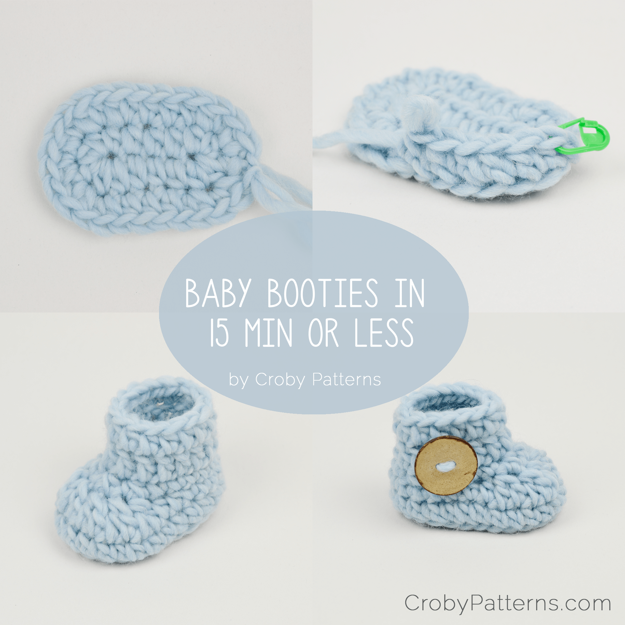 Crochet baby booties in 15 minutes or less! | Croby Patterns