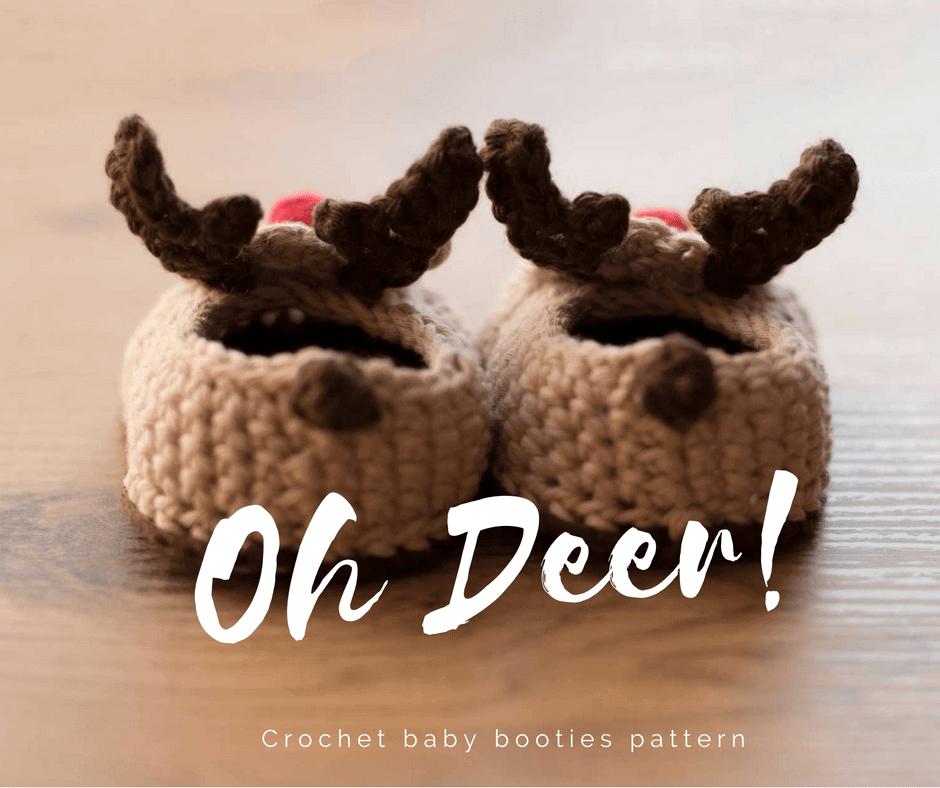 Oh Deer Crochet Reindeer Baby Booties Croby Patterns