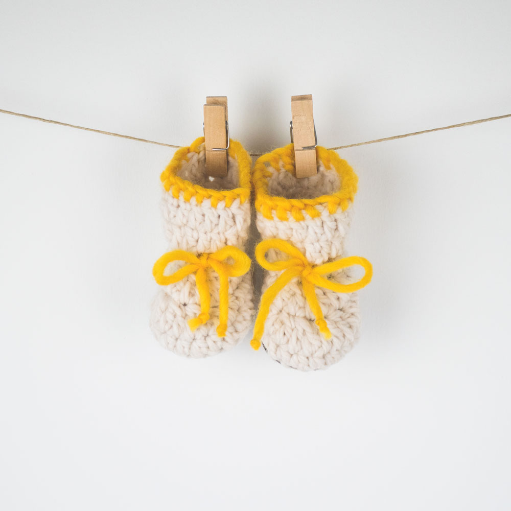 Crochet Baby Booties with a lather sole
