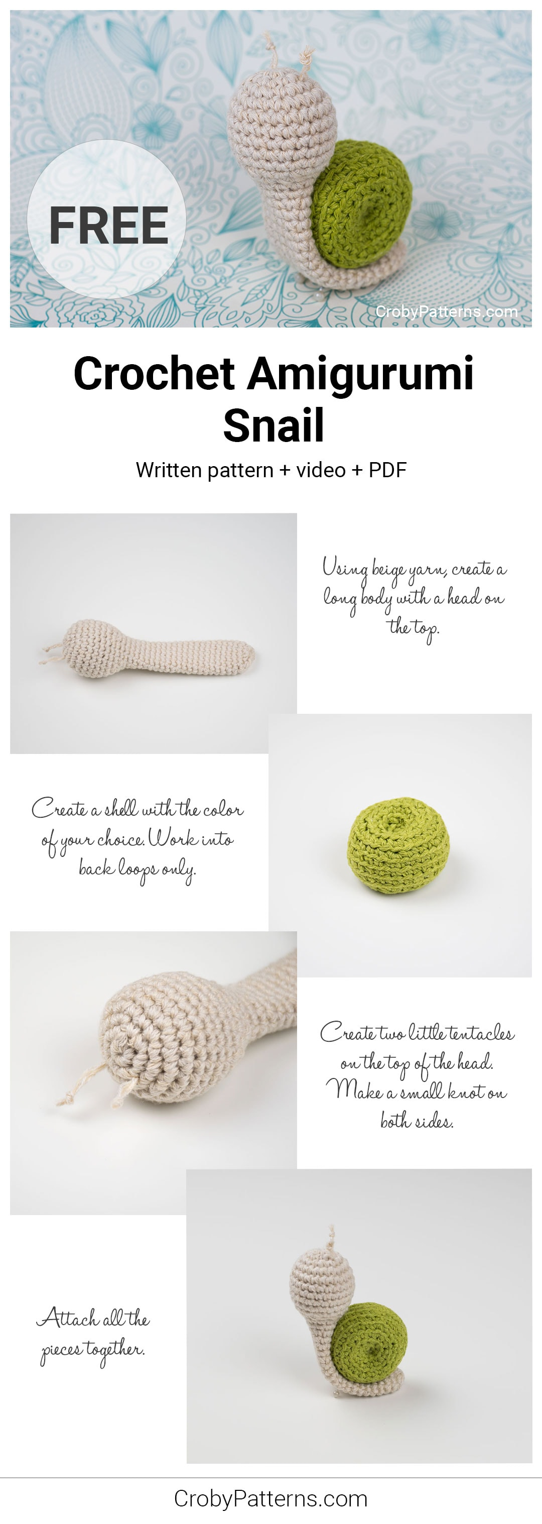 Crochet Amigurumi Snail by Croby Patterns