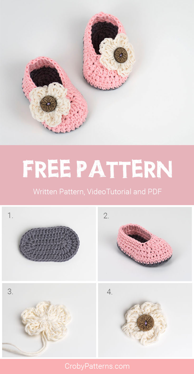 Free Pattern Crochet Baby Booties With Flower Croby Patterns