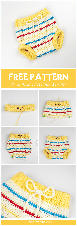 Free Pattern Retro Chic Crochet Baby Pants Croby Patterns